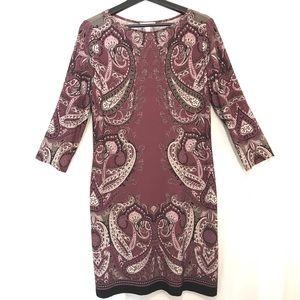 LONDON TIME EUC Burgundy Print Dress